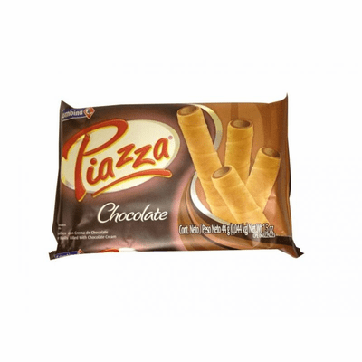Piazza Barquillos con Crema de Chocolate (Wafer Rolls with Chocolate Cream) 10 units- NET WT 1.5oz