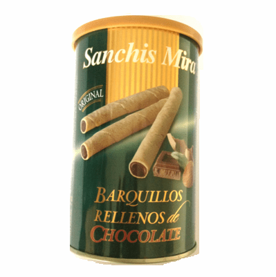 Sanchis Mira Barquillos Rellenos de Chocolate (Wafer Sticks Filled with Chocolate) Approximately 32 units 200g