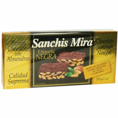 Sanchis Mira Turron Chocolate con Almendras (Chocolate Almonds Nougat) 200g