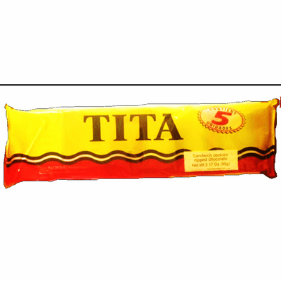 Tita Galletitas Dulce Sabor Limon y Baño de Chocolate (Sandwich Cookies Lemon Flavor Dipped in Chocolate) Package 3.17oz Containig 5 units Argentina