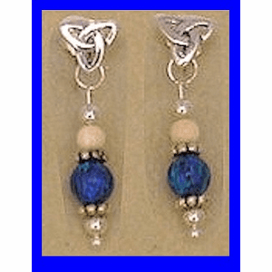 12th Century Celtic Earrings II Blue Lapis Bead With Mammoth Ivory Bead $52.50