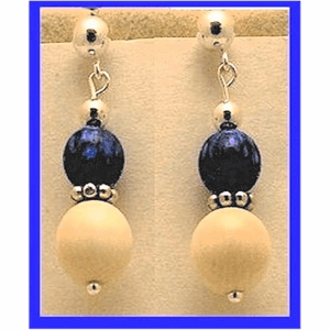 12th Century Celtic Earrings III Shimmering Opal Bead With Mammoth Ivory Bead $79.50
