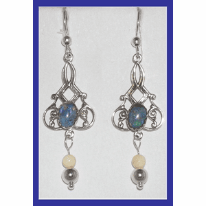 18th Century Tlingit Ceremonial Earrings I Opal and Mammoth Ivory $61.50