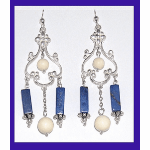 18th Century Tlingit Ceremonial Earrings III Lapis and Mammoth Ivory $64.50