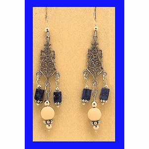18th Century Tlingit Ceremonial Earrings IV Lapis and Mammoth Ivory $64.50