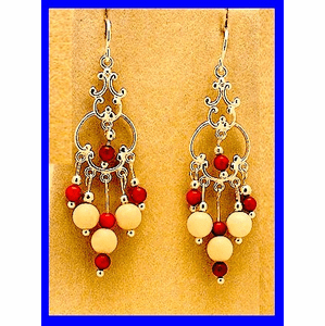 Aleut Spirit Dance Earrings IV Mammoth Ivory And Red Trade Beads $69.50