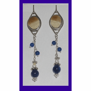 Aleut Woman's Hunting Amulet Earrings Lapis and Freshwater Pearl $39.50