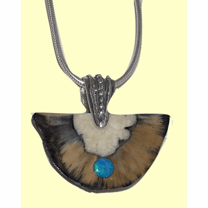 Alutiq Healer's Amulet Fossil Ivory With Opal