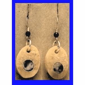 Arctic Moon Earrings Rare Blue and Light Fossil Walrus  Ivory $53.50