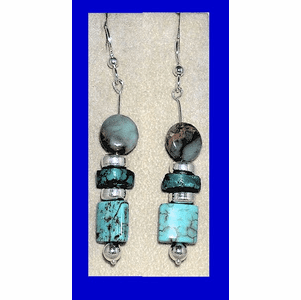 Blue Tlingit Dangle Earrings Three colors of Blue Turquoise $34.50