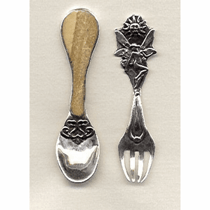 Handcrafted Sterling Silver Child's Spoon and Fork with Fossil Ivory