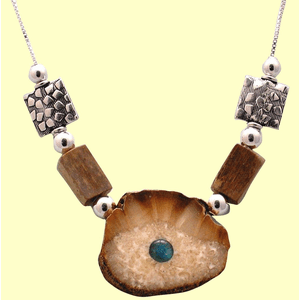 Chukchi Fossil Ivory Welcome Sun Amulet With Embossed Sterling Silver Beads and Opal