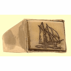 Classic Scrimshaw Men's Ring Sterling Silver With  Rectangulaar Fossil Ivory Out of Stock