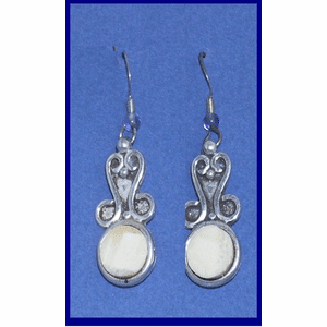 Classic Sterling Silver Applique Earrings Fossil Walrus Ivory $49.50