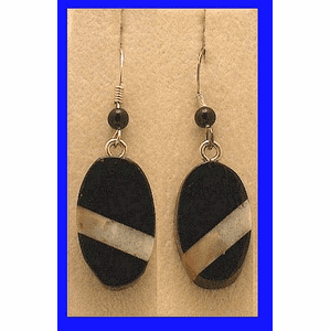 Contemporary Inlay Drop Earrings African Blackwood and Fossil Walrus Ivory $29.50