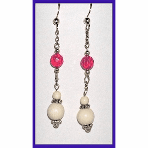 Contemporary Pink Opal and Ivory Earrings Pink Opal and Mammoth Ivory $34.50