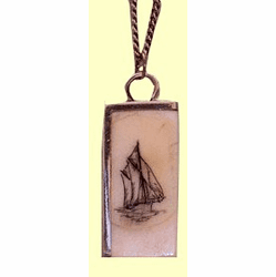 Contemporary Scrimshaw Half-Frame Pendant Fossil Ivory