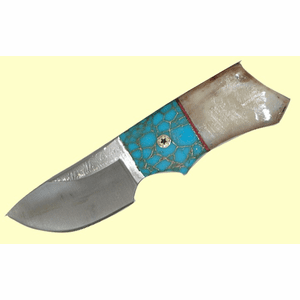 Custom Indian Short Skinner Gold-Veined Turquoise And Fossil Walrus Ivory Scales