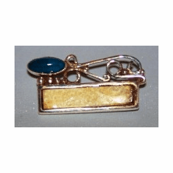 Filigree  Pin Fossil Ivory With Lapis