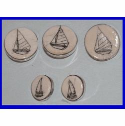 Fossil Ivory and Sterling Silver Scrimshaw Buttons