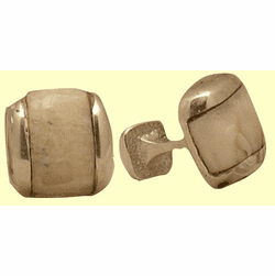 Fossil Ivory Inlay Sterling Silver Cufflinks