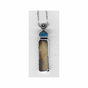 Fossil Ivory Luck Amulet With Opal