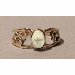 Fossil Ivory or Opal 14KT Gold Double Filigree Ring