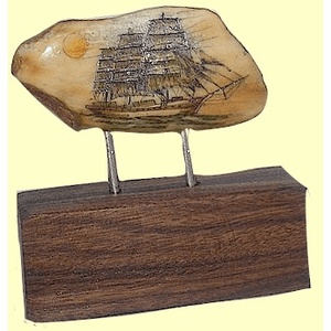 Full-Rigged Ship Charles E. Moody Scrimshaw Fossil Walrus Ivory On Bolivian Rosewood