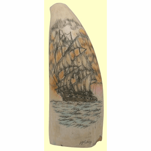 """Gallery """"U.S.S. Constitution"""" Scrimshaw Whales Tooth"""