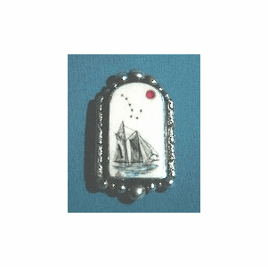 Guiding Star Scrimshaw Pin or Pendant With  Ruby