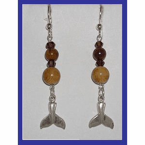 Koryak Whale Talisman Earrings Garnet and Mammoth Ivory $59.50