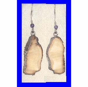 Large Paleo Indian Earrings Fossil Walrus Ivory and Amethyst Bead $25.50