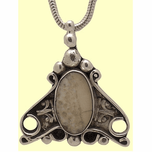 New! Sterling SIlver and Fossil Ivory Victorian Amulet