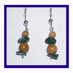 Northern Athapaskan Personal Power Earrings Malachite and Mammoth Ivory $32.50