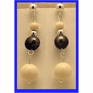 Pacific Athapascan Bead Earrings II Iridescent Freshwater Pearl and Mammoth Ivory $55.50
