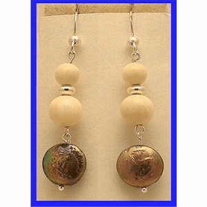 Pacific Athapascan Bead Earrings III Iridescent Freshwater Pearl and Mammoth Ivory  Beads $57.50
