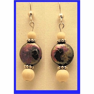 Pacific Athapascan Bead Earrings IV Iridescent Freshwater Pearl and Mammoth Ivory  Beads $54.50