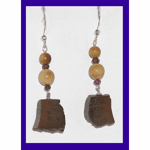 Paleo Indian Bead and Block Earrings Garnet and Dark Mammoth Ivory $52.50