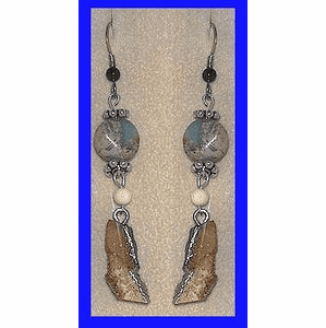 Paleo Indian Earrings With Canadian Turquoise, Mammoth Ivory Bead and Fossil Walrus  $39.50