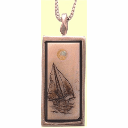 Rectangular Scrimshaw Pendant With Opal