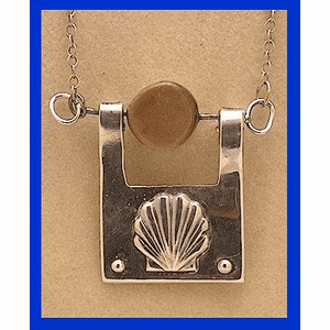 Scallop Shell Talisman III Fossil Walrus And Mammoth Ivory And Sterling Silver