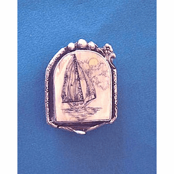 Scrimshaw Gray Whale Pin or Pendant