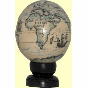 Scrimshaw Ivory  Globe Shipped Only to Addresses in Maryland