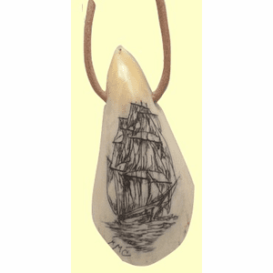 Scrimshaw Sperm Whale Tooth Tip Tiki  Pendant Available only in Maryland