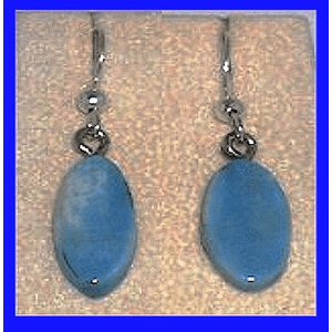 Simple Rare Blue Fossil Ivory Paleo Indian Earrings Fossil Walrus Ivory $26.50