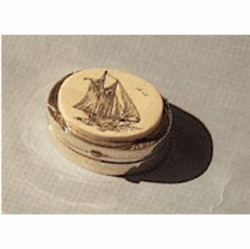 Small Sterling Silver Scrimshaw Box