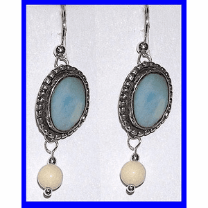 Tlingit  Contemporary  Earrings Rare Blue Fossil Walrus and Mammoth Ivory Bead $49.50