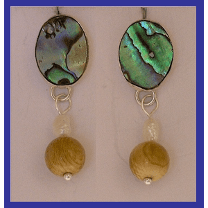 Tlingit Woman Shaman's Earrings Abalone and Mammoth Ivory Beads $54.50