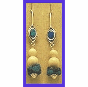 Tlingit Woman Shaman's Earrings III with Opal, Turquoise and Mammoth Ivory Beads $62.50