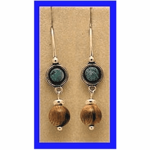 Tlingit Woman Shaman's Earrings IV Opal and Fossil Mammoth Bead $36.50
